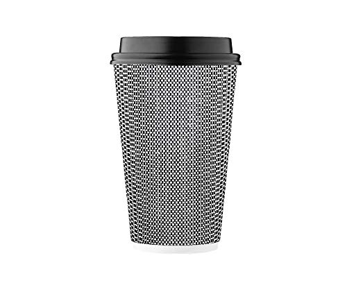 HARVEST PACK 16 oz Insulated Ripple Double-Walled Paper Cup with Lid, Black and White Geometric, Coffee Tea Hot Chocolate Drinks To go [85 SET]