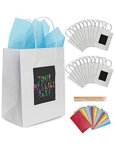 24 Weiße Geschenktüten aus Papier mit Seidenpapier Purple Ladybug - Papiertragetaschen 19x24x12 cm Individuell zu Gestalten! Robuste Geschenkverpackung, Papiertaschen für Geburtstage u. v. m.