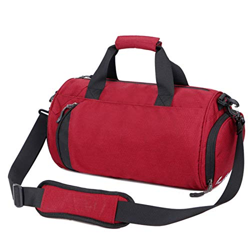 Asffdhley Sports Duffle Gym Bag Waterproof Nylon Backpack Bucket Bag Pack Sports Fitnessfor (Size:One Size; Color: Red)