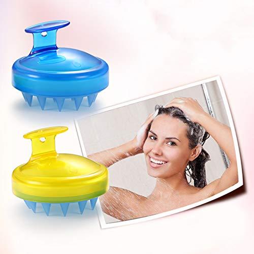 Vtrem 2Pcs Masseur Tête Brosse Shampoing Massage Cuir Chevelu Peigne En Silicone Doux Souple Pour Relaxation De La Tête Et Retire Les Peaux Mortes [Bleu + Jaune]