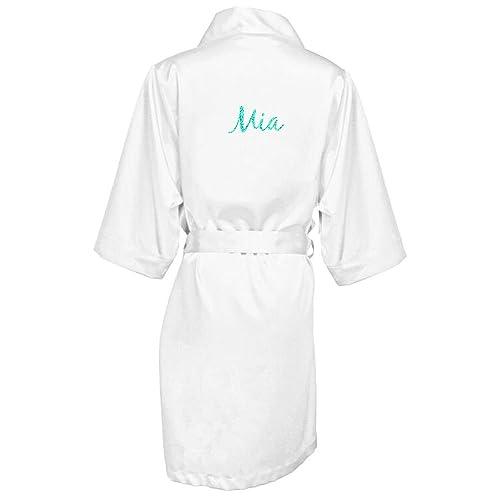 Girl ExtraOrdinaire Women s Personalized Glitter Print Satin Robe Name or  Phrase - Bride   Bridesmaid Kimono 8d8a3c512