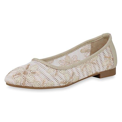 SCARPE VITA Klassische Damen Ballerinas Pailletten Slippers Slip On Schuhe 166941 Creme Pailletten 40