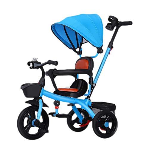 WENJIE Bicicleta Carrito De Bebé Carrito De Bebé Cochecito De Música Bicicleta Asiento Confort Valla De Seguridad Toldo Regalos De Cumpleaños for Niños (Color : Blue)