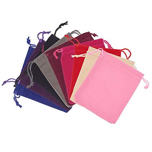 PandaHall 40 Bolsas Bolsas de joyería de Terciopelo Negro Bolsas con cordón Bolsas de Regalo 12x10cm