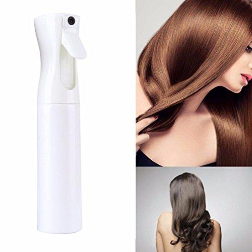 300ML Hair Spray Bottle Mist Pump Ultra Fine Aerosol Water Mist Trigger Sprayer Refillable Plastic Sprayer for Essential Oils Cleaning Solutions Travel (White)