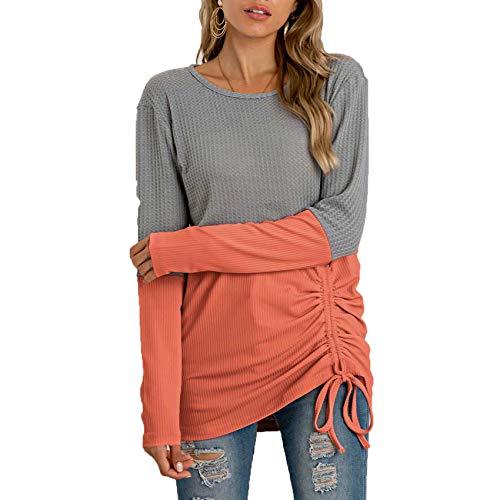YZANYFQH Herbst Und Winter Frauen Stitching Strickpullover Kordelzug Rundhalsausschnitt All-Match Sweater Frauen