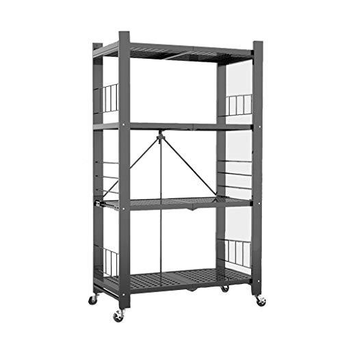 QAQA Magazine Racks for The Living Room, Storage Shelving Unit, Standing Shelf Units for Kitchen Office Bathroom Laundry Room (Color : Black, Size : 101 * 41 * 125cm)