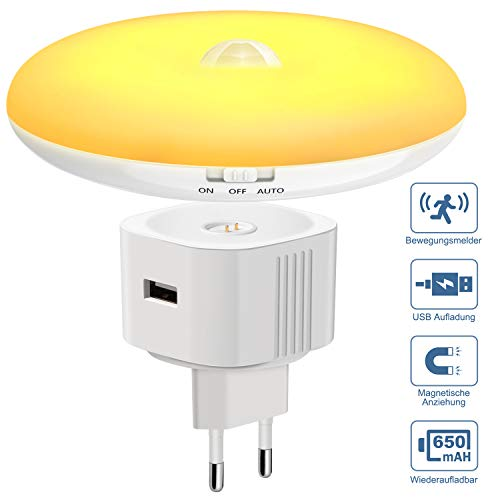 Nachtlicht, Magichome Batteriebetrieben LED Nachtlicht mit Bewegungsmelder und Dämmerungssensor Steckdosenlicht Sensorleuchte warmweiße PIR Kinder Nachtlampe LED blendfrei Orientierungslicht