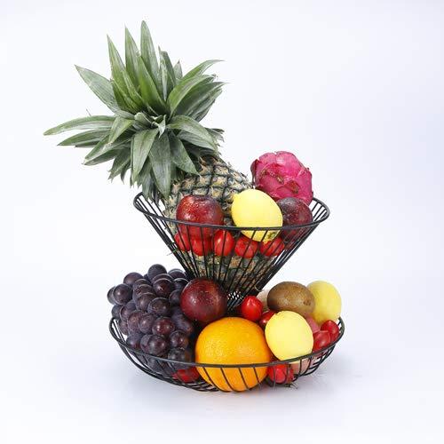 GuangYang Grande Corbeille a Fruits 2 etages - Panier a Fruits a etages en métal décoration Plan de Travail - Coupe de Fruit Design Noire – Corbeille Table Fruits et legumes fraîcheur