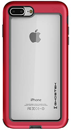 Ghostek Atomic Slim iPhone 8 Plus, iPhone 7 Plus Clear Case with Space Metal Bumper Heavy Duty Protection Wireless Charging Compatible for 2016 iPhone 7 Plus / 2017 iPhone 8 Plus (5.5 Inch) - (Red)