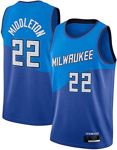 ZMIN Jersey Milwaukee Milwaukee 22# Middleton Jersey, Chalecos neutros Transpirables livianos cómodos Retro,Azul,XL
