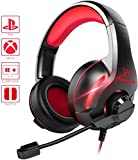 Jszzz Gaming Headset, Xbox EIN Headset, PS4 Headset Soround Stereo Gaming-Kopfhörer mit Mikrofon LED-Licht, OverEar Soft-Speicher Earmuff, kompatibel mit PC / PS4 / Xbox One/Switch, Red