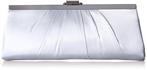 Jessica McClintock Blaire Womens Satin Frame Evening Clutch Bag Purse With Shoulder Chain Included, Silver