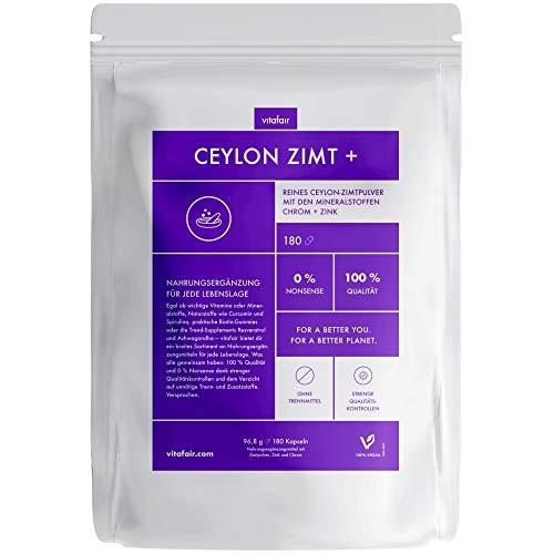 Vitafair Reines Ceylon Zimt - Chrom & Zink - 180 Kapseln - 400mg pro Tagesdosis - Für Knochen, Haare & Nägel - Vegan - Ohne Trennstoffe - Made in Germany, 96,8g