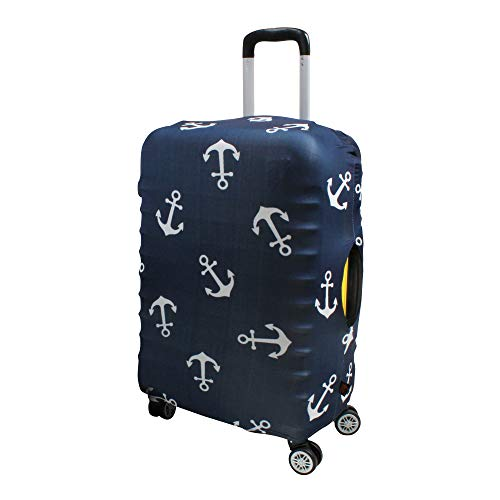 Luggage Cover Suitcase Protector Fits 19-33 Inch TSA Approved Travel Suitcase Cover Washable Dustproof Anti-Scratch (M (22-26 inch), Anchor)