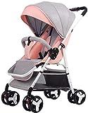 YONGYONGCHONG Carretilla Cochecito de bebé recién Nacido de Peso Ligero del niño, antichoque resortes Compacto Cochecito de arnés de 5 Puntos Triciclo (Color : B)