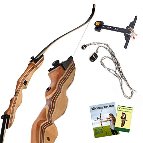KESHES Takedown Hunting Recurve Bow and Arrow - 62 Archery Bow for Teens and Adults, 15-60lb Draw Weight - Right and Left Handed, Archery Set, Bowstring Arrow Rest Stringer Tool Sight (30 LB, Right)