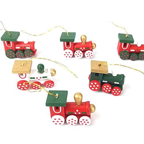 BOSSTER Hölzerner Weihnachtszug 6 stücke Weihnachten Holzeisenbahn Mini Weihnachten Deko mit Seil zum Weihnachten Vitrine Fenster Desktop Dekoration