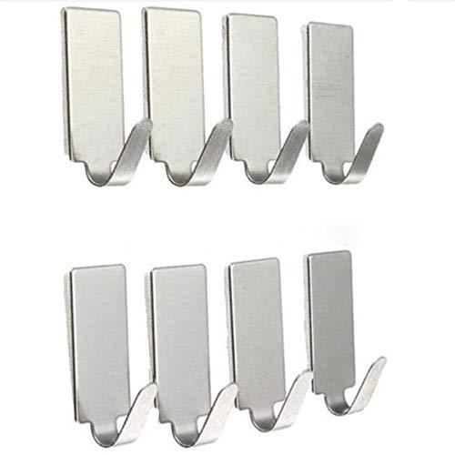Silver stickers 8PCS binnenlandse keuken muur haken haak deur tot deur uit roestvrij staal opschorting badkamer,de