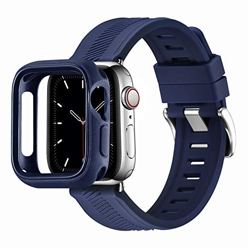 RTYHI Compatible con Apple Watch Correa de 44 mm, 40 mm, 42 mm, 38 mm, silicona suave, correa de repuesto extraíble, compatible con iWatch Series 6/SE/5/4/3/2/1 (38 mm, 40 mm, azul oscuro)