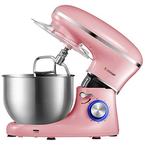 GAOLIGUO Amasadora 6L, 1500W 6 Velocidades Robot Cocina Multifuncional Mezclador de Alimentos Incluye 3 Accesorios de batido Amasadora para Repostería,Pink