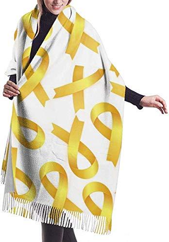 lymknumb Cinta amarilla para la conciencia del cáncer infantil Cómoda bufanda de chal Bufanda de invierno de cachemira para mujeres y hombres