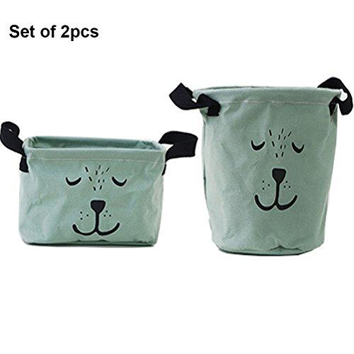 Inwagui Stoff Aufbewahrungsbox aus Baumwolle 2 Stück Aufbewahrungsbox, Aufbewahrungskorb aus Stoff Für Badezimmer Haushalt-Grün