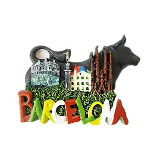 Bella 3D Magneti per FrigoriferoCalamite da Frigo in Resina Viaggio Souvenir del Modo Spagna Barcellona Tauromaquia Fridge Magnet Sticker