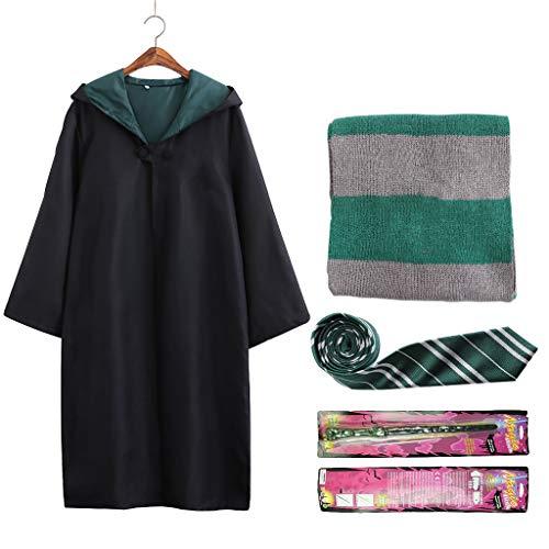 Xinqin Mantello da Mago Sciarpa Cravatta e Bacchetta Magica, Set di Costumi da Mago Magico Uniforme Scolastica Magica Vestito Operato Costume Cosplay per Bambini e Adulti Carnevale Halloween