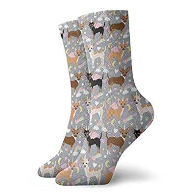 Chihuahua Perros Pastel Unicornio Perros Y Unicornios Diseño Gris Calcetines Personalizados Deporte Medias Deportivas 11.8 Pulgadas Calcetines Tripulación Para Hombres Mujeres