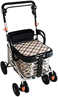 Shopping Trolleys Folding Roller Walker Old Man Shopping Cart Trolley Can Sit Handrail Height Adjustable Can Bear 150 Kg (Color : Black, Size : 57 * 51 * 88-95cm)