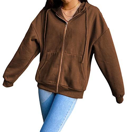 Damen Y2K Sweatshirt Übergroße Schmetterling Grafik Strass Zip Up Hoodies E-Girl Jahre Jahre Grauer Diamant Streetwear Jacke (Braun2, L)