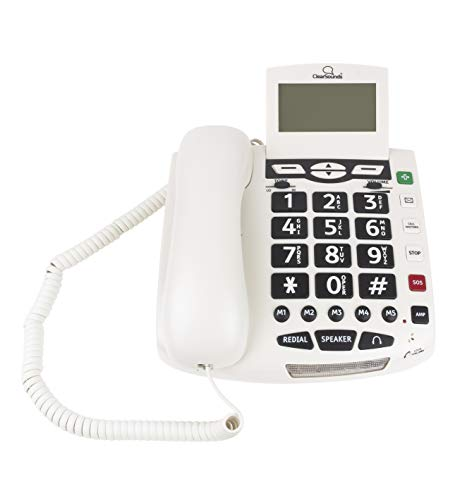ClearSounds CSC600ER Amplified Corded Phone with Wireless SOS Alarm Pendant and Remote Audio Monitoring - Single-Line Operation, AC Powered