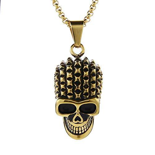 AIWOFO Hombres Punk Skull Colgante Collar Acero Inoxidable Hiphop Rock