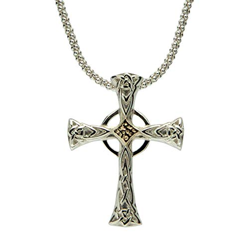 Keith Jack Jewelry, Thin Celtic Cross Necklace, Sterling Silver & 10k Gold