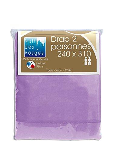 Nuit des Vosges 2105827 Cotoval Drap de Lit Uni Coton Parme 240 x 310 cm