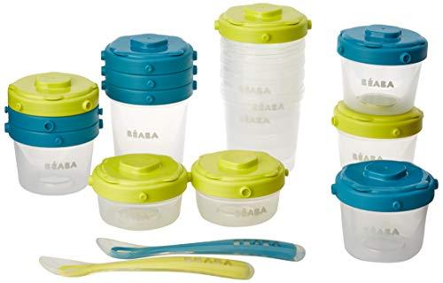 BÉABA, Lot de 12 Portions Conservation et 2 Cuillères Silicone, Clip, Pots empilables et clipsables, 100% hermétique, Graduation, Congélation, 2x60 ml & 4x120 ml & 6x200ml, Bleu/Néon