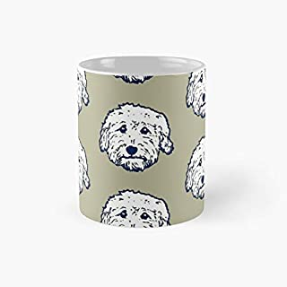 Doodle dog cuteness - Goldendoodle! Labradoodle! Adorable Doodle teddy bear dog - in putty gray | 11oz White Birthday Gift...
