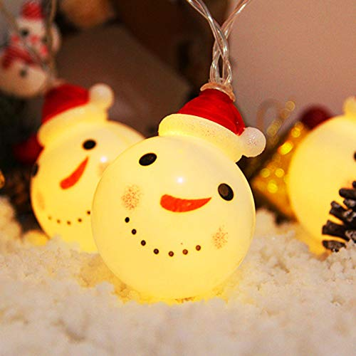 Ultrabright String Lights, LED Christmas Decorative Battery Fairy String Lights 2 Pieces Outdoor Patio Commercial Garden Decoration Indoor Wall Decorations Curtain String Lights,Snowman,1.5m10 lights