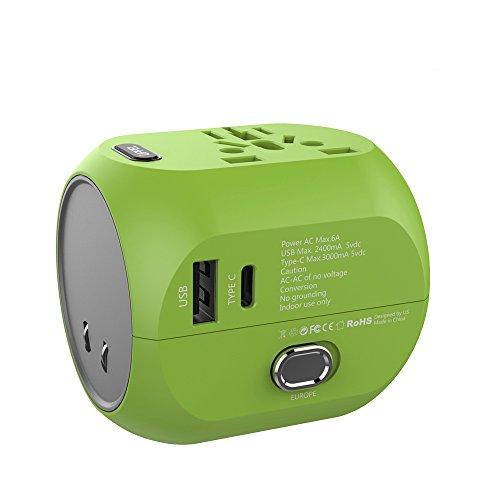 Adaptador Enchufe, UPPEL Adaptador de Viaje, Enchufe Universal USB + Tipo C Carga para Tableta PC,Smartphones,Cámaras Digitales, Reproductores de MP3 con Ambos Seguridad de Fusibles de Corriente para EEUU, AU, Asia, Estados Unidos más de 150 Países(Verde)