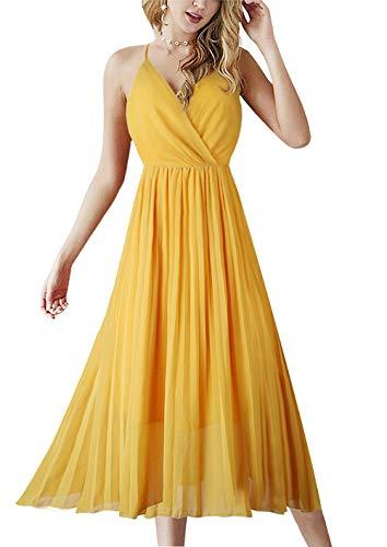 Alleen Damen Midi Casual Kleid V-Ausschnitt Träger Ärmellos Rückenfrei Lang Sommerkleider (Gelb, S)