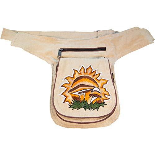 KUNST UND MAGIE Bauchtasche Mushroom Gürteltasche Festivaltasche Sidebag, Farbe:Naturfarben
