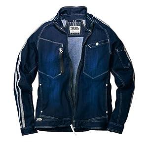 [トライチ] デニム長袖ブルゾン 8990-124 ジャケット スリムフィット 細身 3Dストレッチ サイドライン 作業服 3L 4:コン
