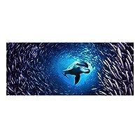 3Dの新しい水中世界シリーズ階段マット滑り止めラバーバッキング階段カーペット階段ステップマットマット階段クッション カーペットパッド,15 pcs,24*60cm