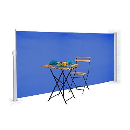 Relaxdays Store latérale extérieur rétractable Brise Vue Jardin terrasse 180 x 300 cm Protection UV, Bleu