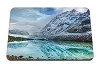 22cmx18cm マウスパッド (山湖氷反射石海岸冷たい鮮度雲) パターンカスタムの マウスパッド