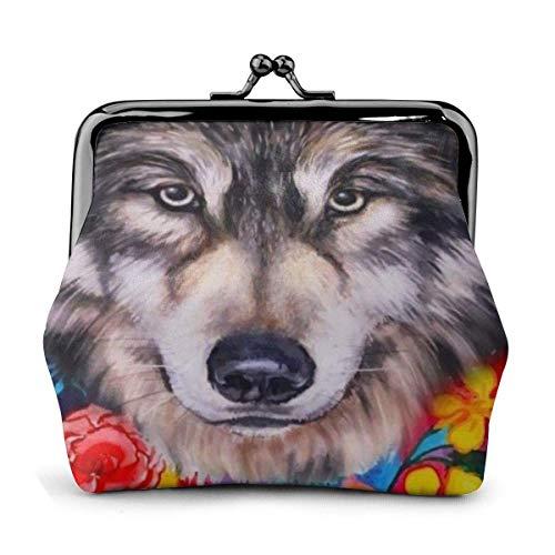 Floral Boho Wolf PU Cuero Exquisito Hebilla monederos Vintage Bolsa clásica candado Cambio Monedero Carteras Regalo