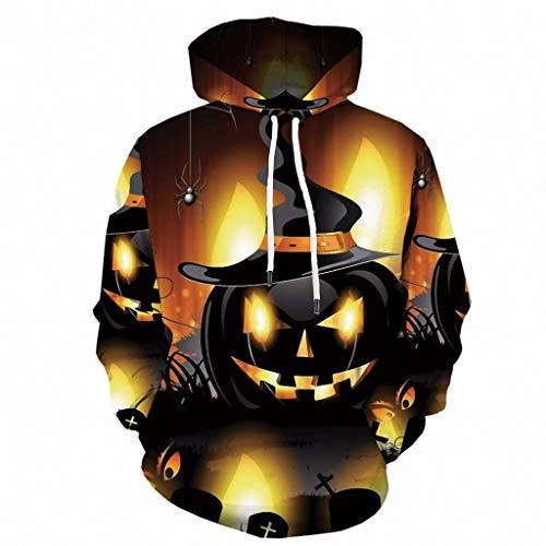 KPILP Herren Halloween Sweatshirt Langarm 3D-Druck Pullover Jungen Kapuzenpulli...