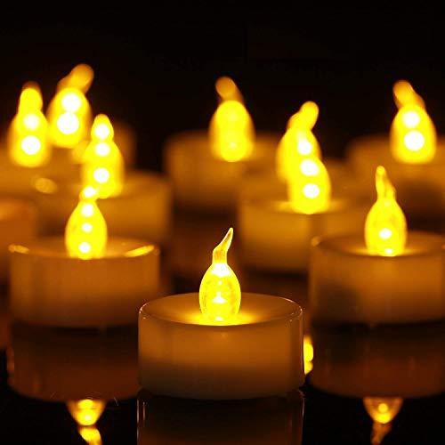 50 Stück Led Teelichte, Elektrische Kerzen mit Flackerndem Licht, inklusive Batterien(CR2032), Lange andauernd 100+Stunde Teelicht (Warmes Gelb)