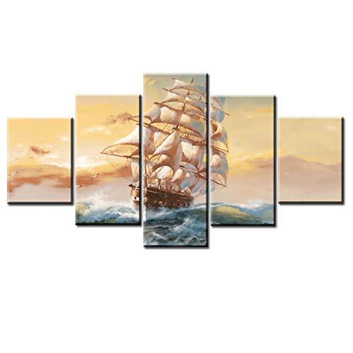 """Leinwand Wandkunst HD Schiff Segeln Ansicht druckt Poster Home Decoration Gemälde für Schlafzimmer Modulares Bild Kein Rahmen 15,7\""""x23.6 (40x60cm) × 215.7\""""x31.4 (40x80cm) × 215.7\""""x33.4 (40x100cm) × 1"""